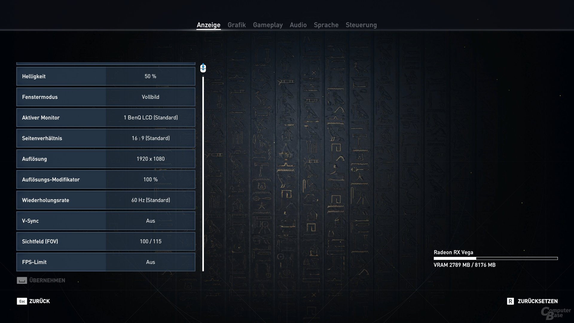 Assassin's Creed: Origins – Das Grafik-Optionsmenü