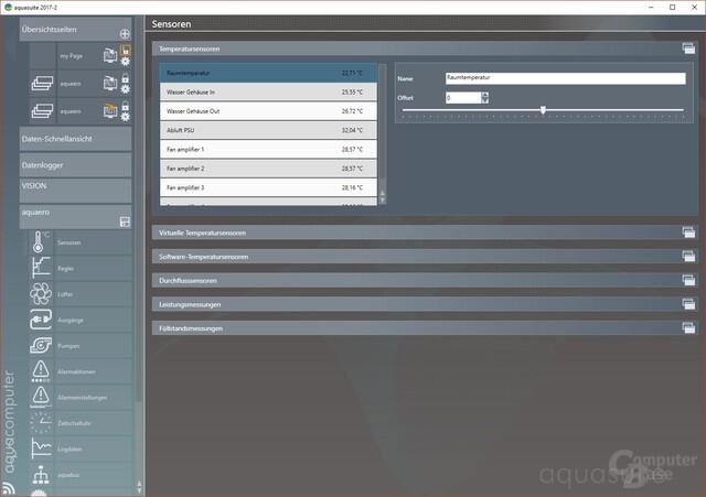 Aqua Computer Aquaero 6 LT: Verwaltung der Sensoren
