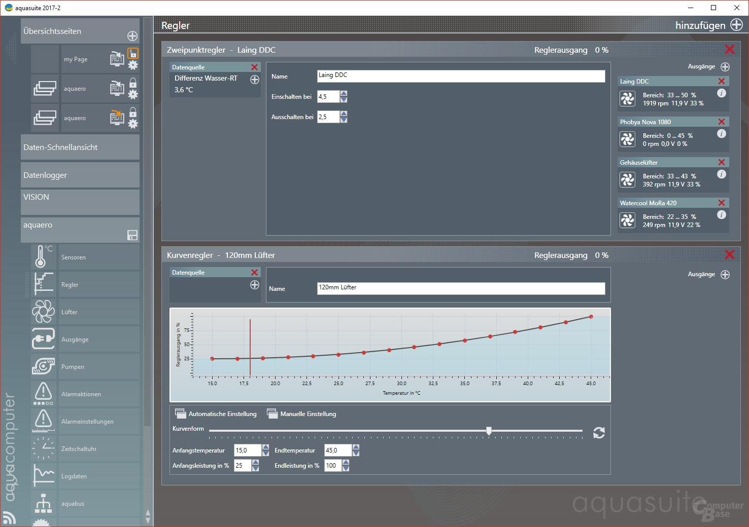 Aqua Computer Aquaero 6 LT: Programmierung von Lüfterkurven