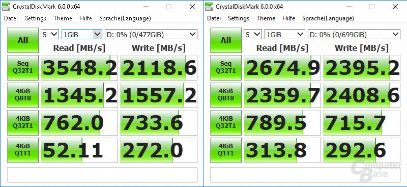 Samsung SSD 960 Pro links gegen Intel Optane SSD DC P4800X rechts