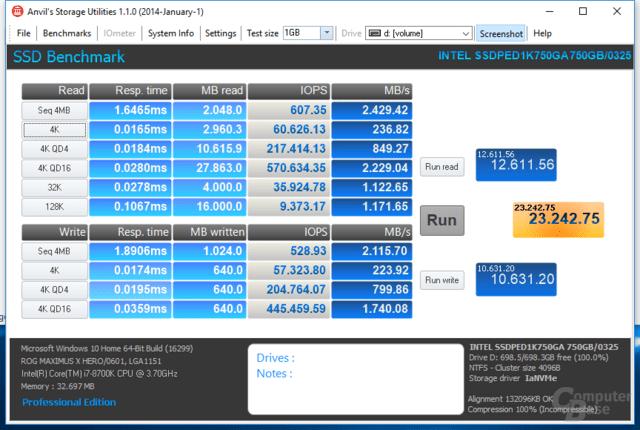 Intel Optane SSD DC P4800X im Benchmark