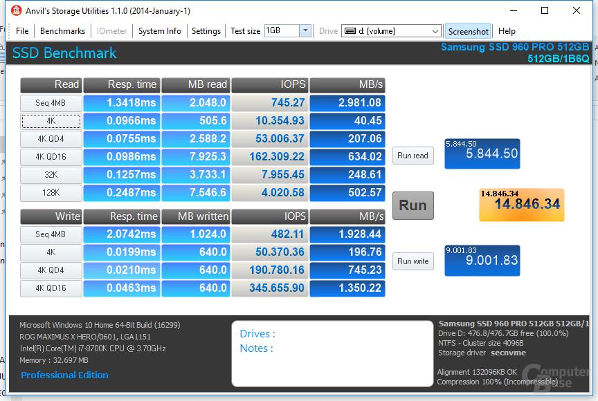 Samsung SSD 960 Pro zum Vergleich