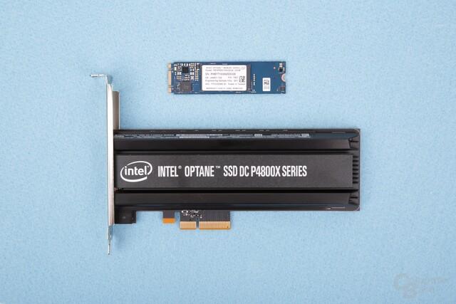 3DXpoint als Optane Memory Cache (oben) und in einer SSD für Server