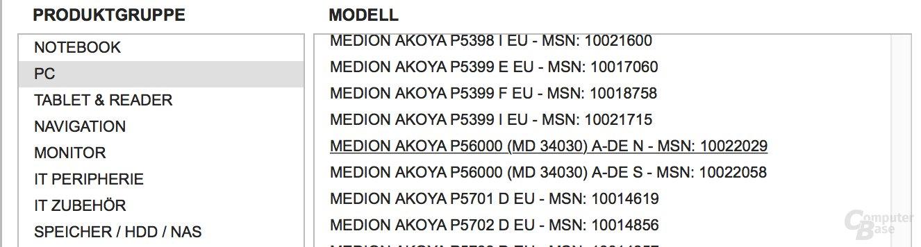 Der Akoya P56000 mit Einträgen für Aldi Süd und Nord