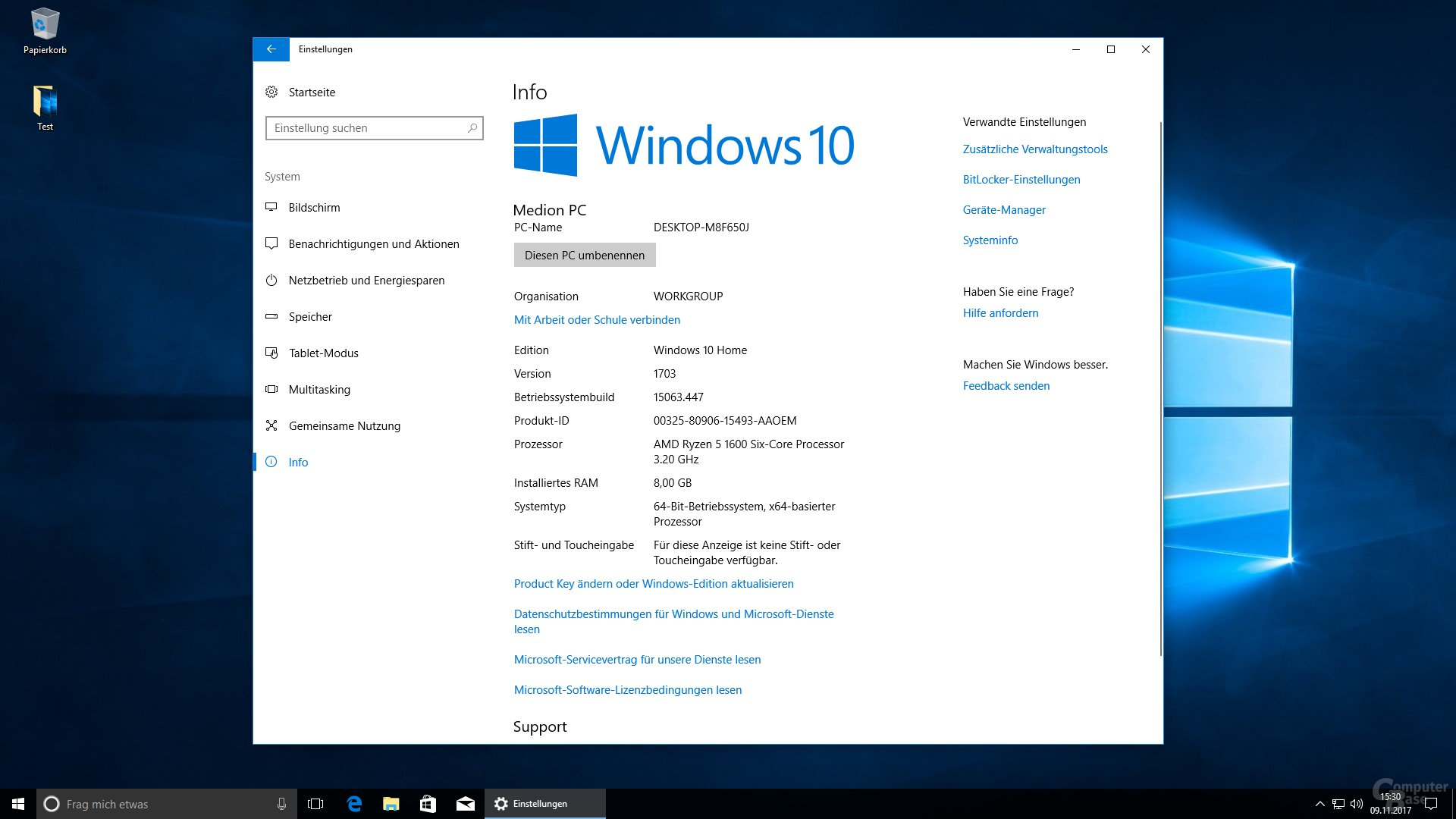 Mit Windows 10 Version 1703 (Creators Update)