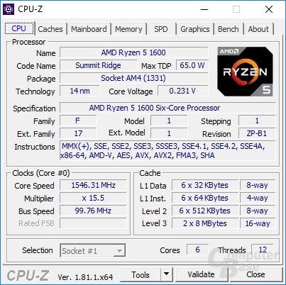 CPU-Z: AMD Ryzen 5 1600 mit sechs Kernen