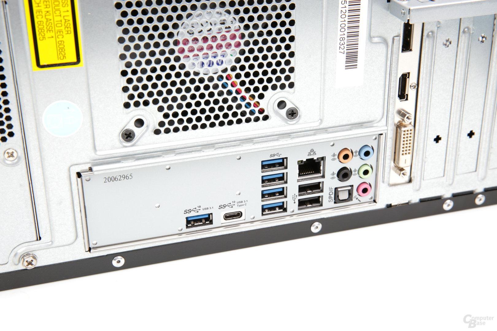USB 3.1 Gen 2 findet sich gleich zweimal am I/O-Panel