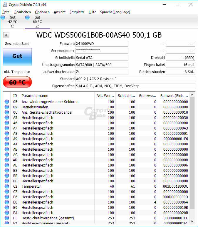Rund 60 °C erreicht die WD Blue intern wie extern