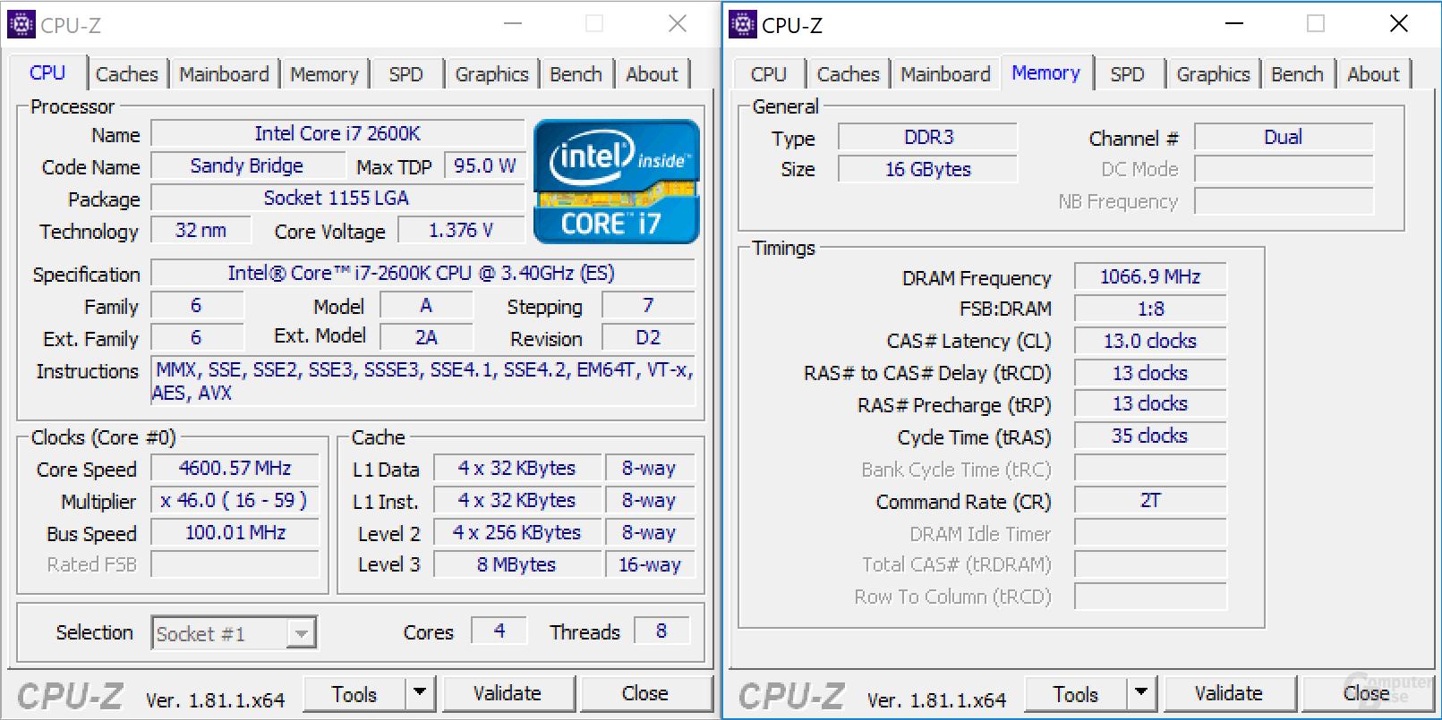 Intel Core i7-2600K bei 4,6 GHz mit DDR3-2133