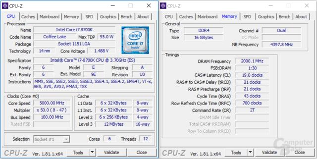Intel Core i7-8700K bei 5 GHz mit DDR4-4000
