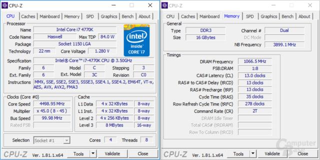 Intel Core i7-4770K bei 4,5 GHz mit DDR3-2133