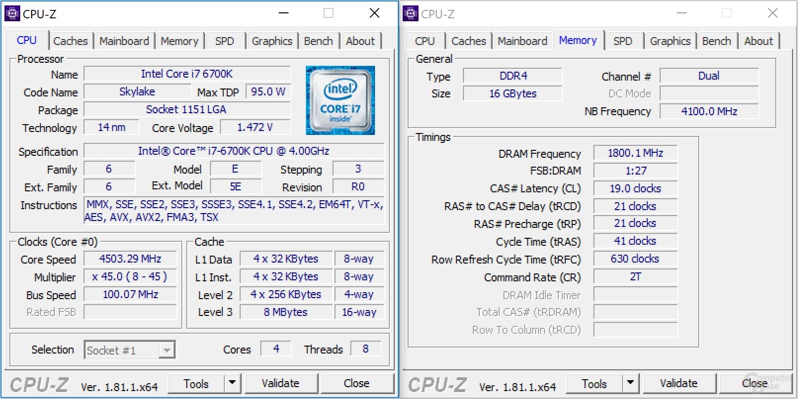 Intel Core i7-6700K bei 4,5 GHz mit DDR4-3600