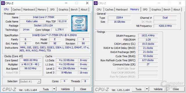 Intel Core i7-7700K bei 4,8 GHz mit DDR4-3866