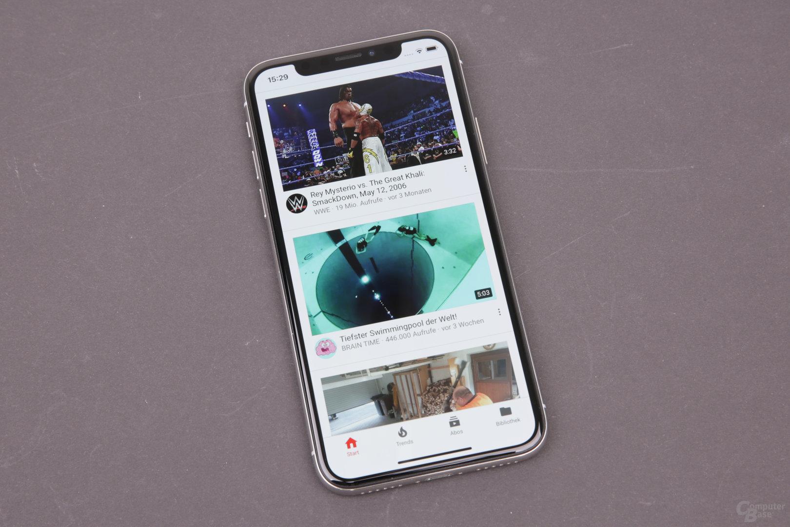Apple iPhone X – Angepasste YouTube-App
