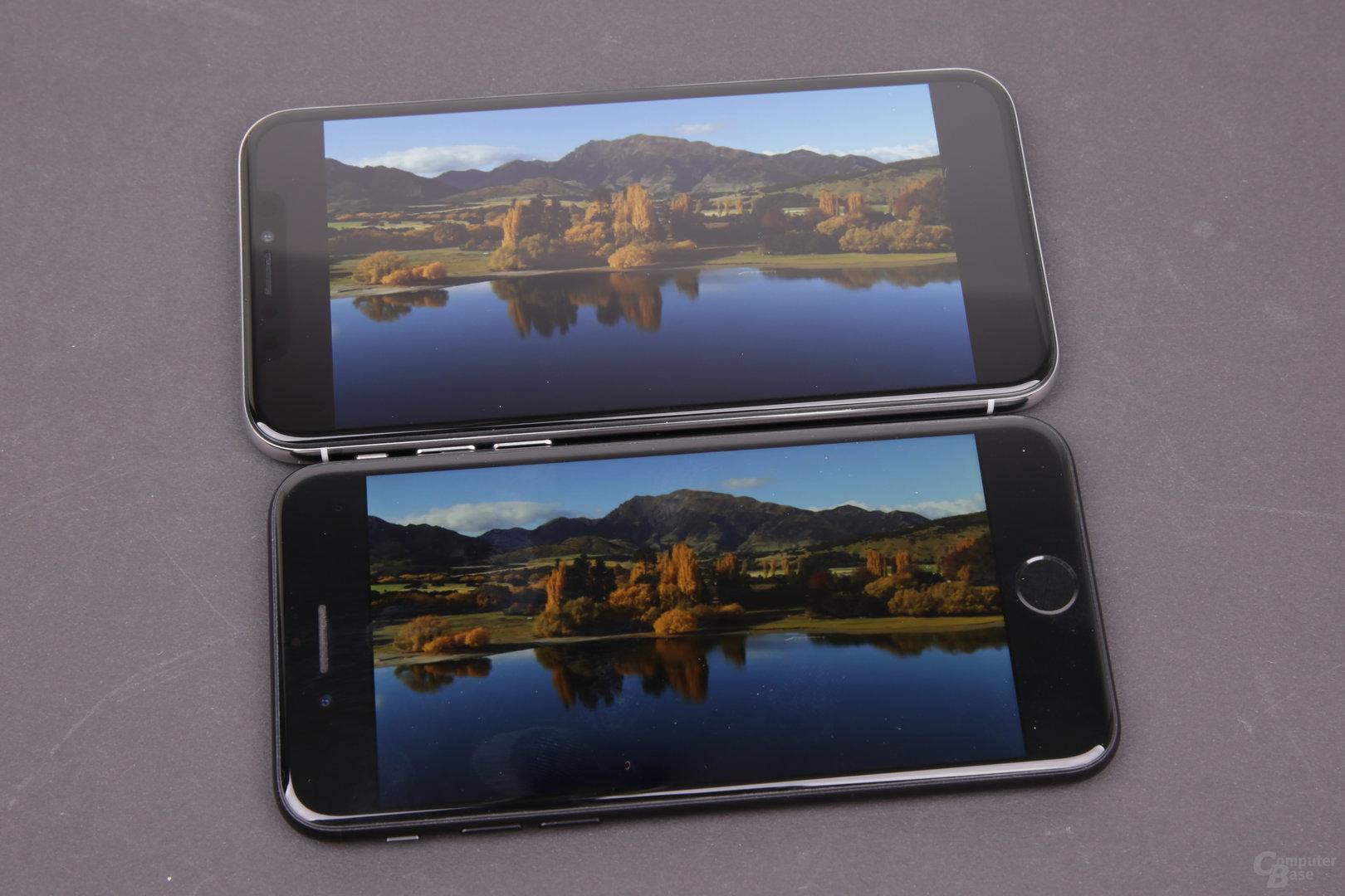 iPhone X und iPhone 7 in 16:9