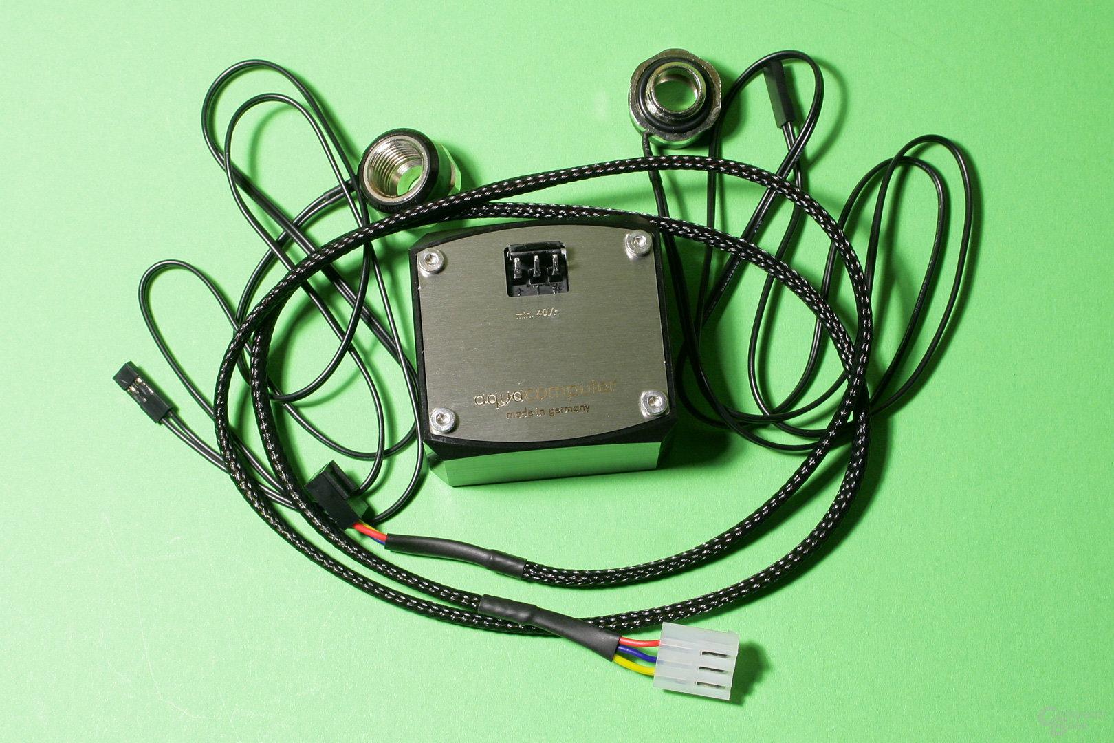 Durchflusssensor und Temperatursensoren von Aqua Computer