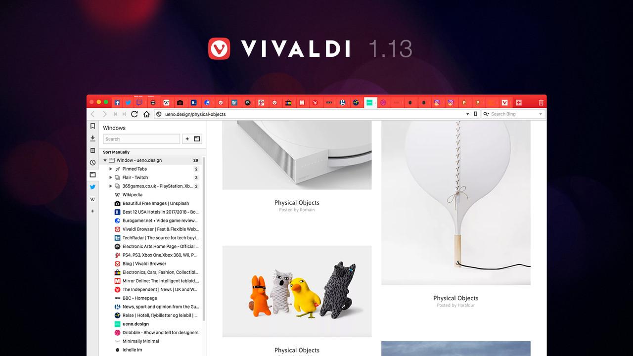Browser: Vivaldi 1.13 sortiert, stapelt und schläfert Tabs ein