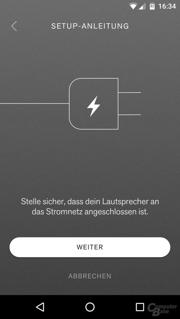 Einrichtungsvorgang via Android-App
