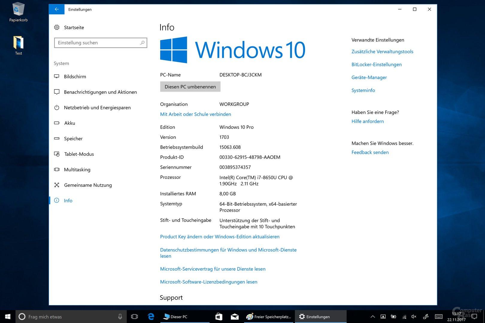 Das ab Werk installierte Windows ist veraltet