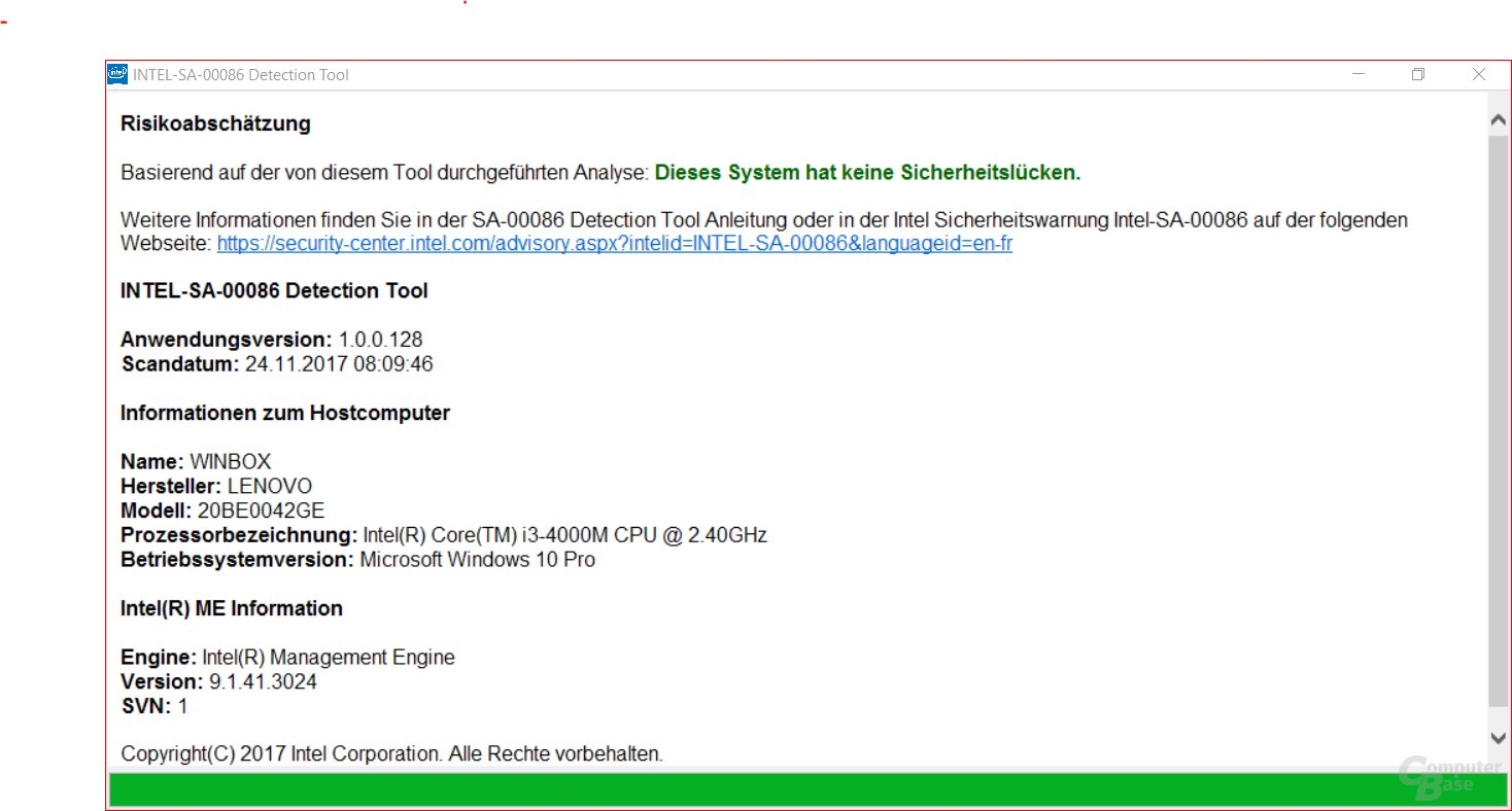 Nicht betroffenes System unter Windows