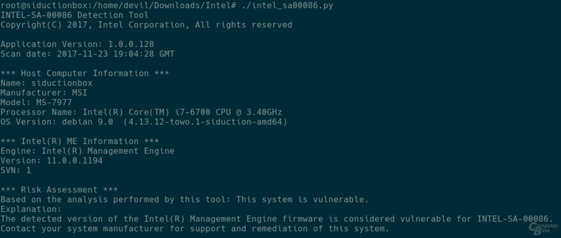 Betroffene Linux-Workstation