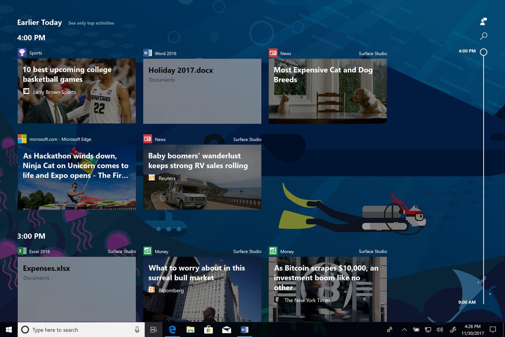 Timeline für Windows 10 – Aktivitäten eines Tages im Überblick
