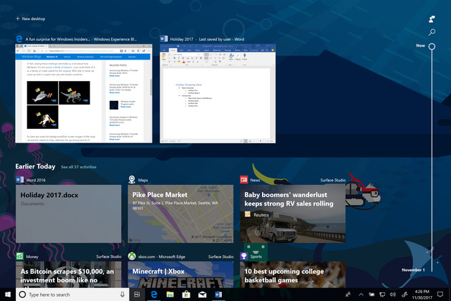 Timeline für Windows 10 – Geräteübergreifende Übersicht über Aktivitäten