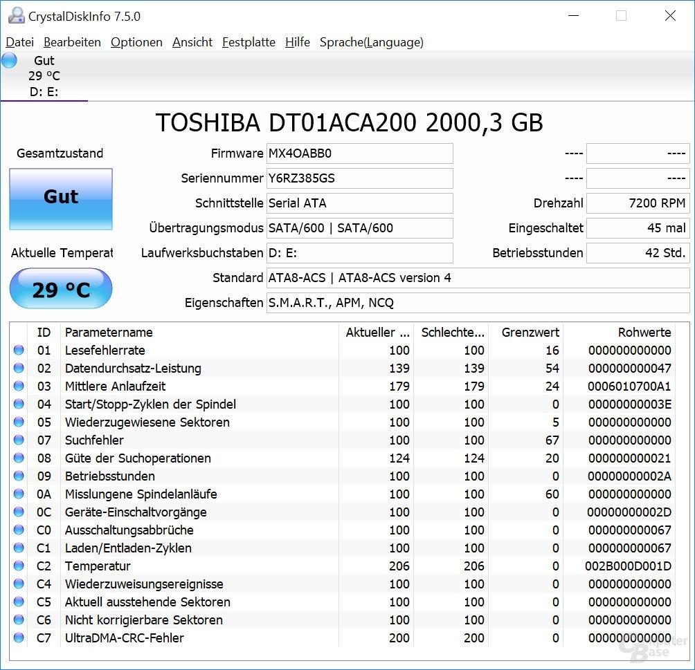 Information zur HDD von Toshiba