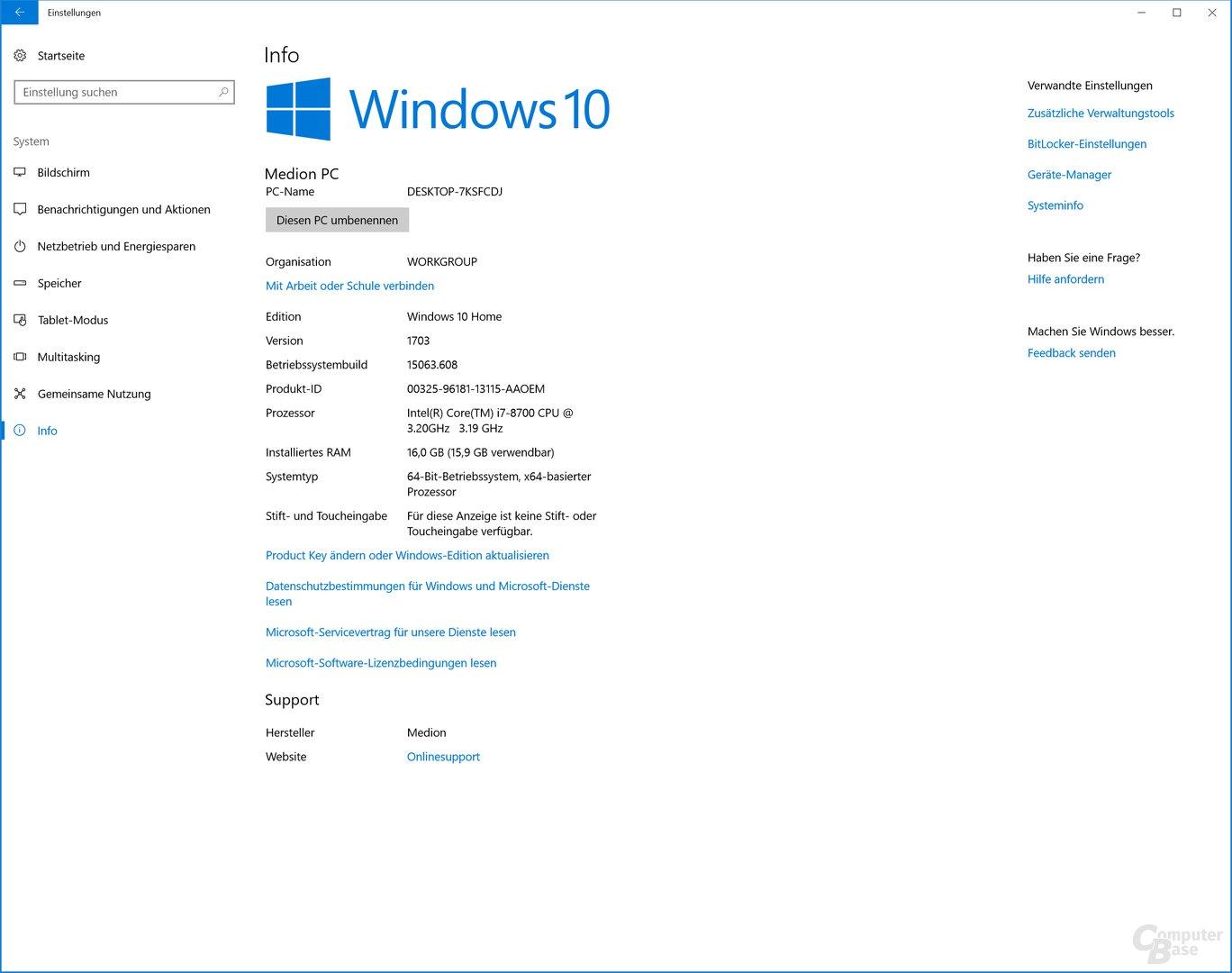 Installiert ist noch Windows 1703 Creators Update