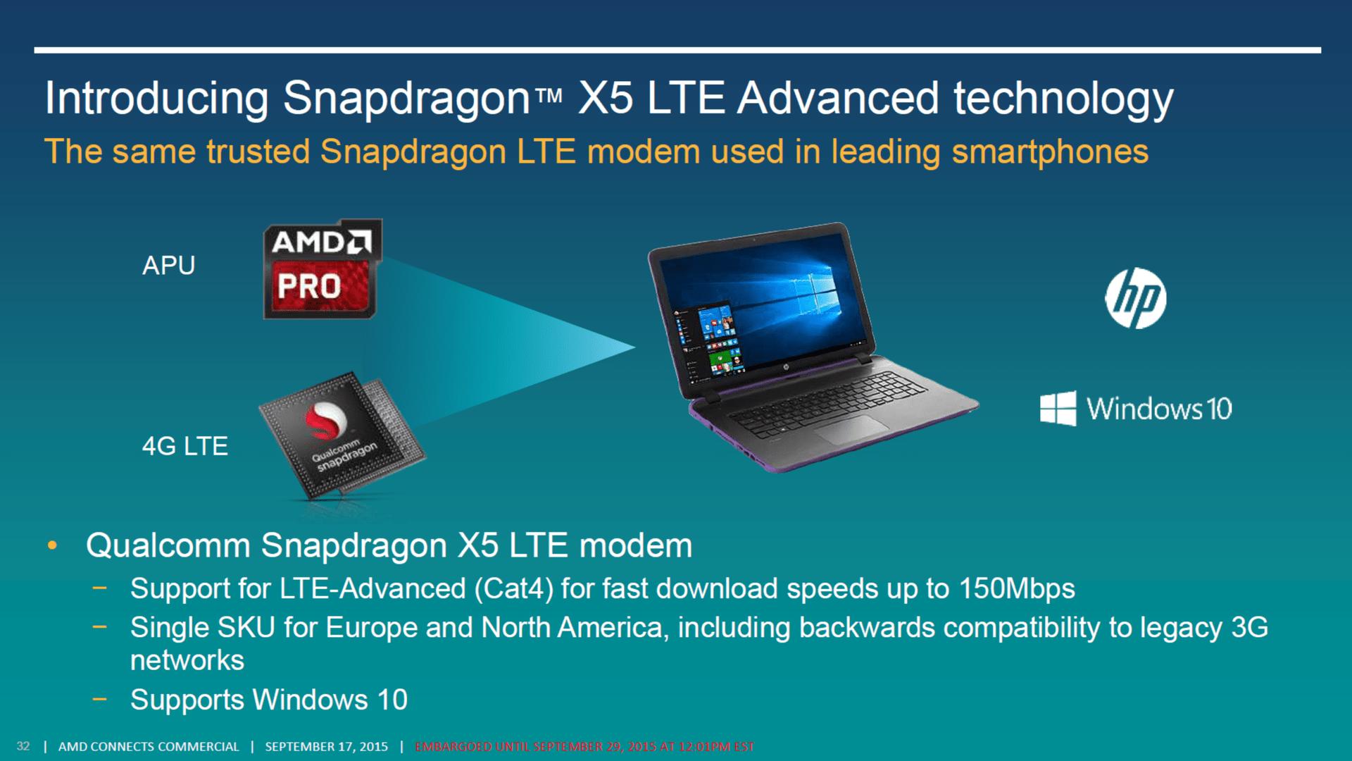 Qualcomm stellte bereits 2015 optional ein Modem für AMD-Notebooks