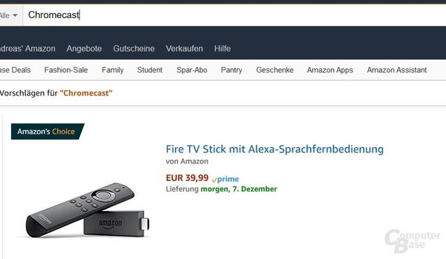 Wer bei Amazon nach dem Chromecast sucht, findet den Fire-TV-Stick mit Alexa-Fernbedienung.