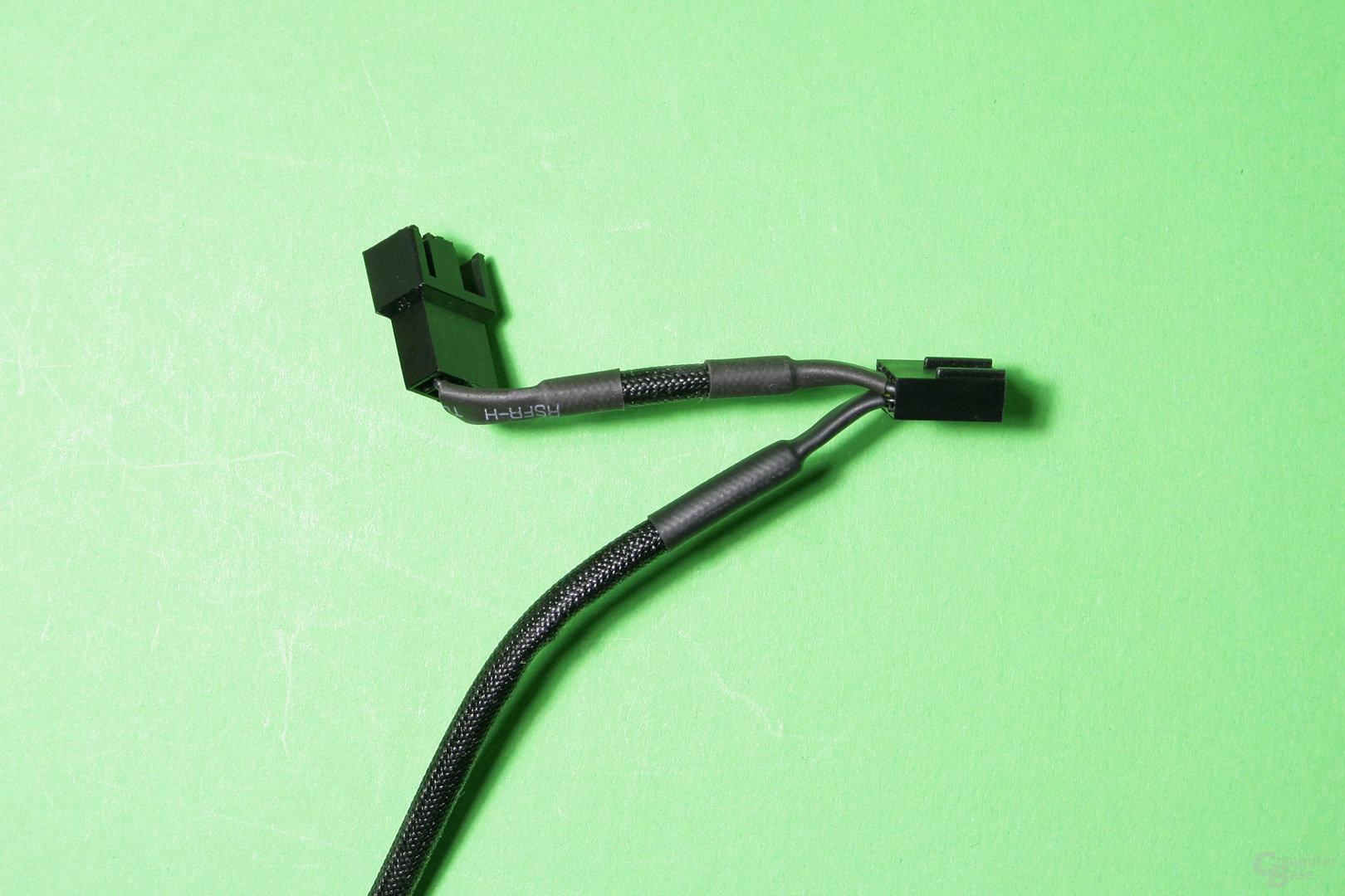 Der Lüfter verfügt über eine Y-Weiche zum Anschluss eines zweiten Ventilators