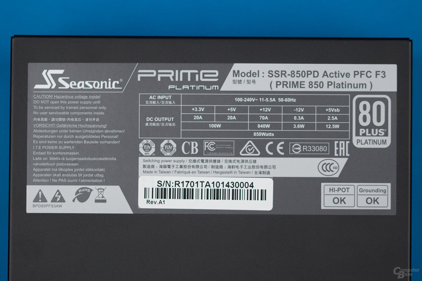 Sea Sonic Prime Platinum 850W