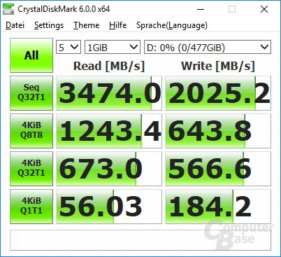 CrystalDiskMark auf Core i7-7700K: Windows-Update