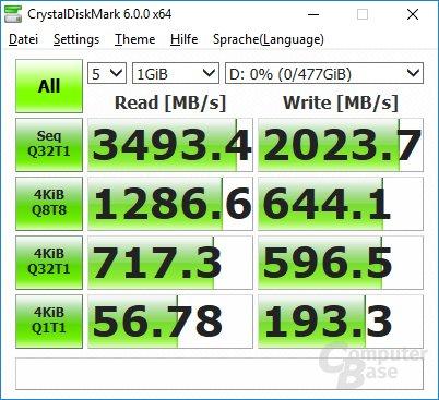 CrystalDiskMark auf Core i7-7700K: Ausgangsszustand