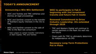 Einigung zwischen Toshiba und Western Digital