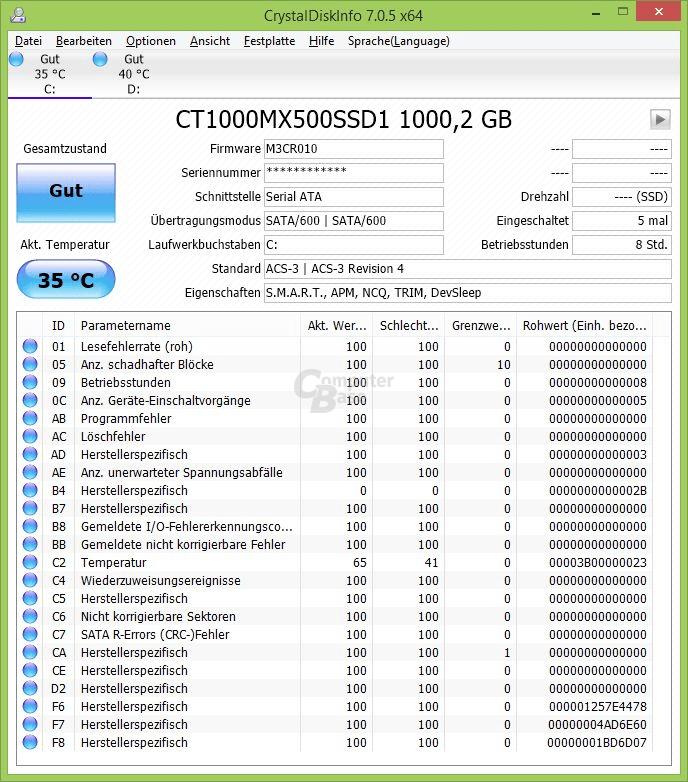 CrystalDiskInfo: Crucial MX500