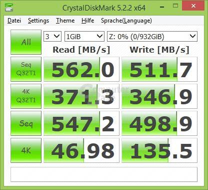 Crucial MX500 im CrystalDiskMark mit nicht komprimierbaren Daten (Standard)