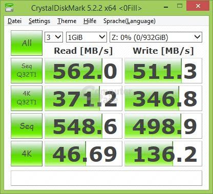 Crucial MX500 im CrystalDiskMark mit komprimierbaren Daten (0Fill)