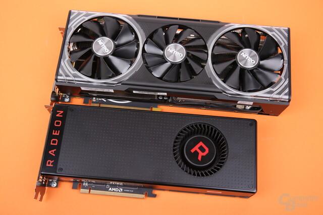 Sapphire RX Vega 56 Nitro+ (oben) vs. AMD Referenz (unten)