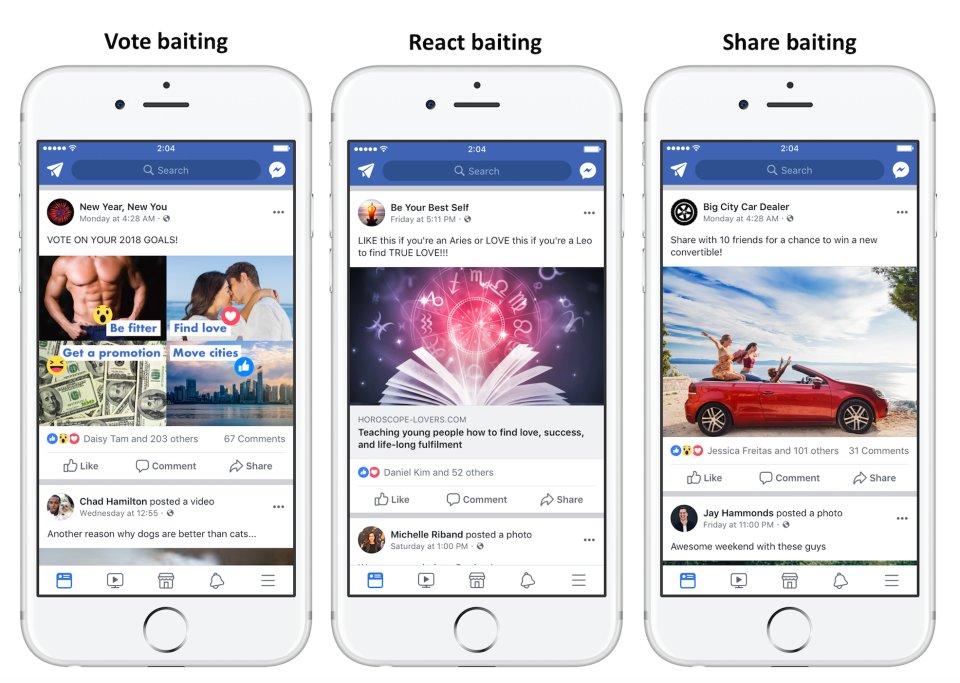 Beispiele für vote baiting, react baiting und share baiting