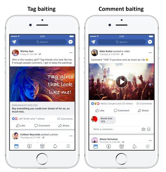 Beispiele für tag baiting und comment baiting