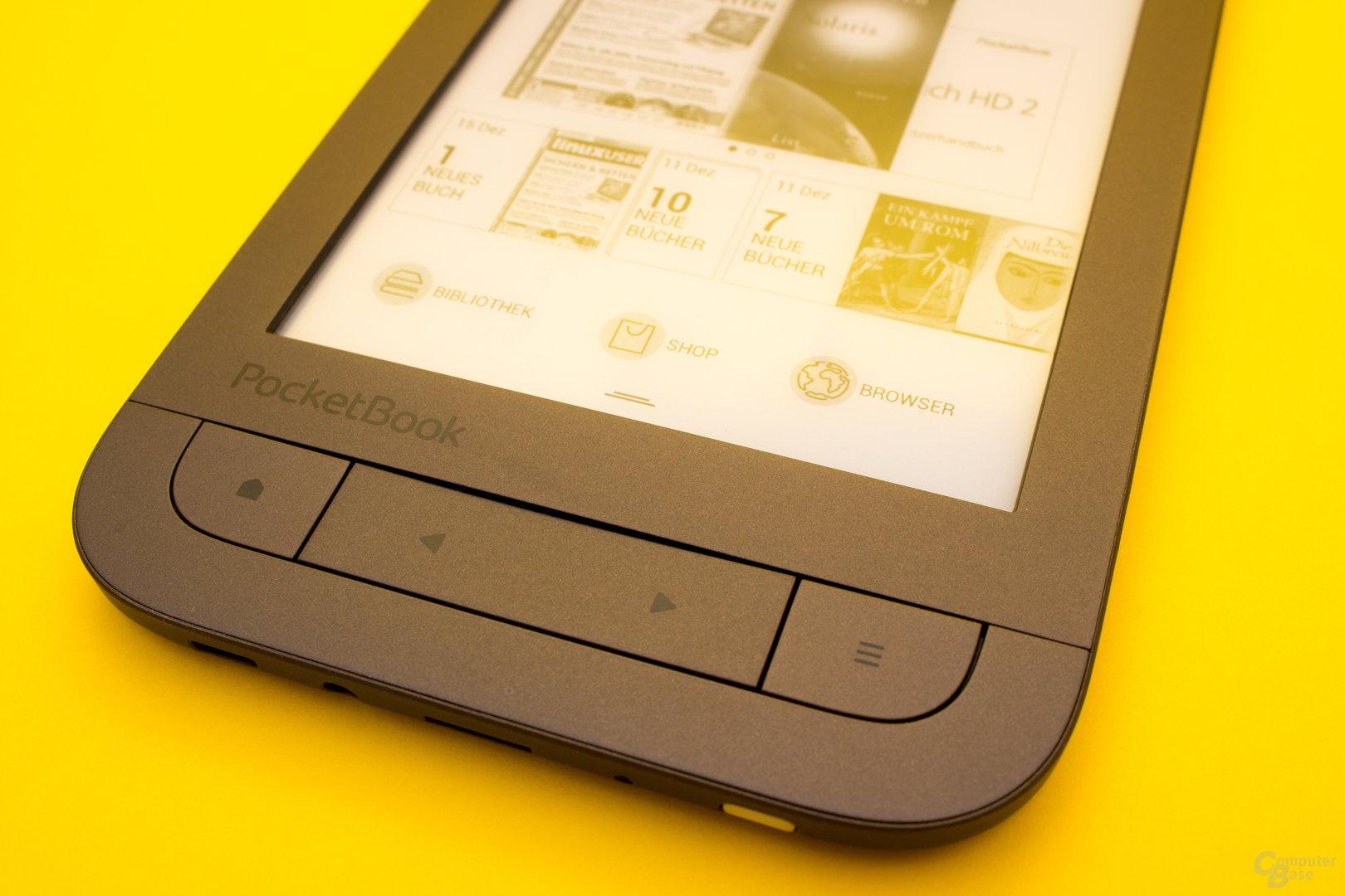 Auch beim neuen PocketBook Touch HD 2 dürfen die bekannten Tasten nicht fehlen