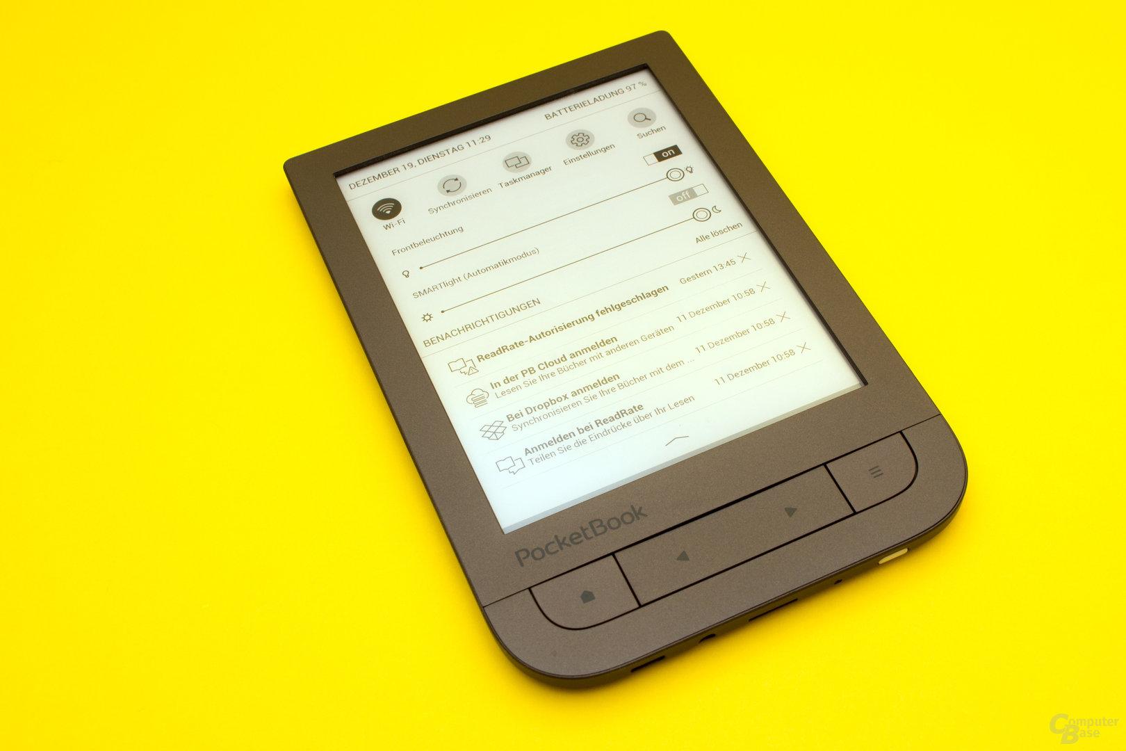 Frontbeleuchtung und smartLight beim PocketBook Touch HD 2
