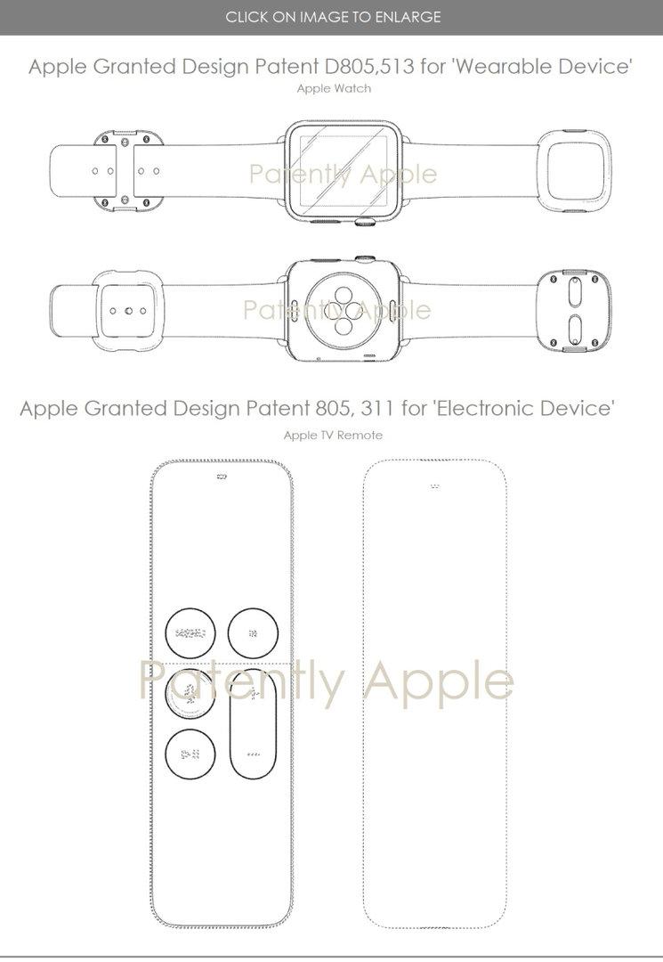 Design-Patente auf Apple Watch und Apple TV Fernbedienung