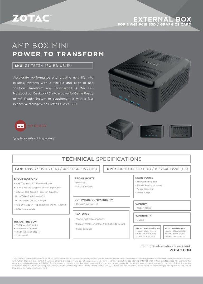 Zotac Zbox AMP Mini Spezifikationen