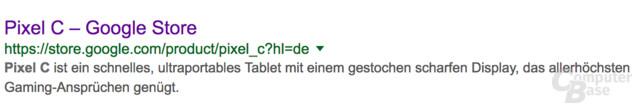 Das Pixel C ist in der Google-Suche noch zu finden, aber nicht abrufbar