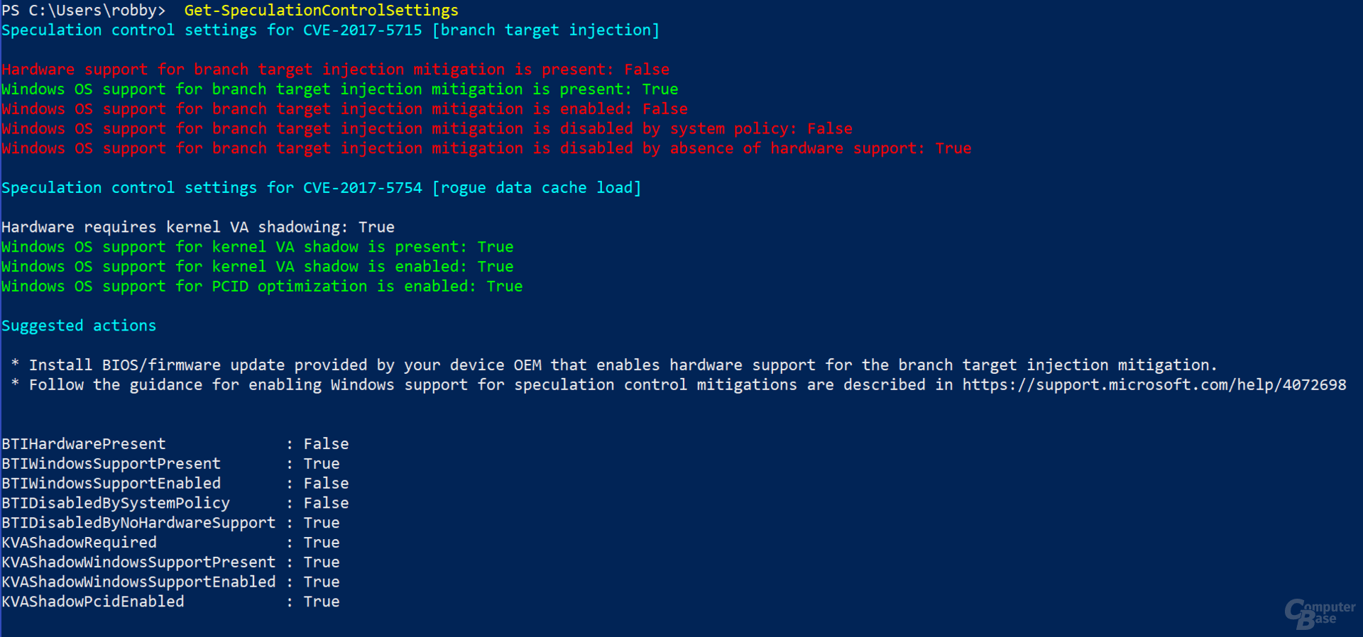 "PowerShell-Script ""SpeculationControl"" auf einer Intel-CPU mit Windows-Update aber ohne Microcode-Update"