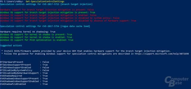 """PowerShell-Script """"SpeculationControl"""" auf einer Intel-CPU mit Windows-Update aber ohne Microcode-Update"""