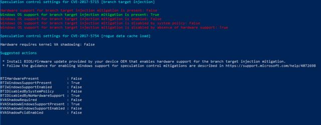 """PowerShell-Script """"SpeculationControl"""" auf einer AMD-CPU ohne Microcode-Update"""